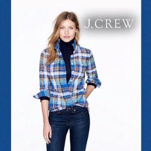 J Crew Blue Green Orange Tartan Flannel  Shirt🦋0